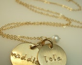 Gold Engraved Necklace - Hand Stamped Necklace - Gold Name Necklace