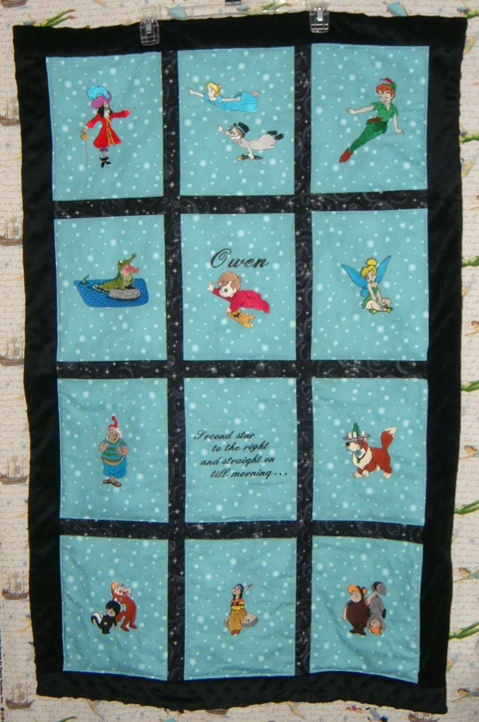 Embroidered Peter Pan Baby Quilt Personalized With Name