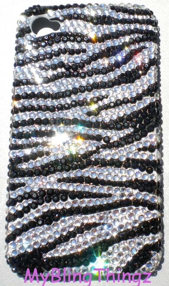 Tiny 12ss Black & White Zebra Stripe Design Crystal Rhinestone BLING Back Case for iPhone 4 4S handmade using 100% Swarovski Elements