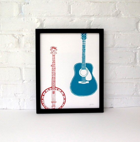 Banjo and Guitar Screen Printed Poster 11 x 14, Red and Blue
