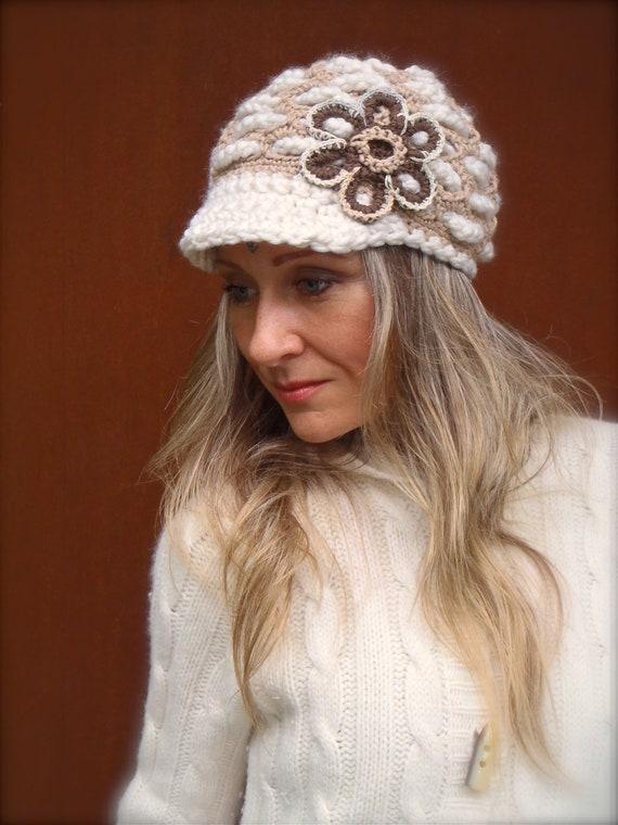 NARNIA Slouchy Beanie crochet slouch hat FLOWER cap NEWSBOY hat Beige White hat Flower child Hippie hat