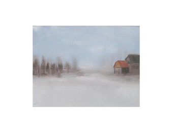 painting perfect for any room Countryside winter seenery rustic farmhouse painting oil on canvas original art Canada northern country scene