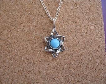 Turquoise Star of David Necklace, Jewish Star, Modern Star of David Necklace, Simple Star Necklace, Star of David Charm, Turquoise Necklace
