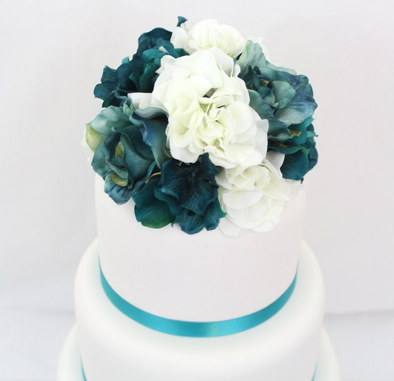 silk flowers for wedding cake toppers wedding cake topper turquoise white hydrangea jade 19838