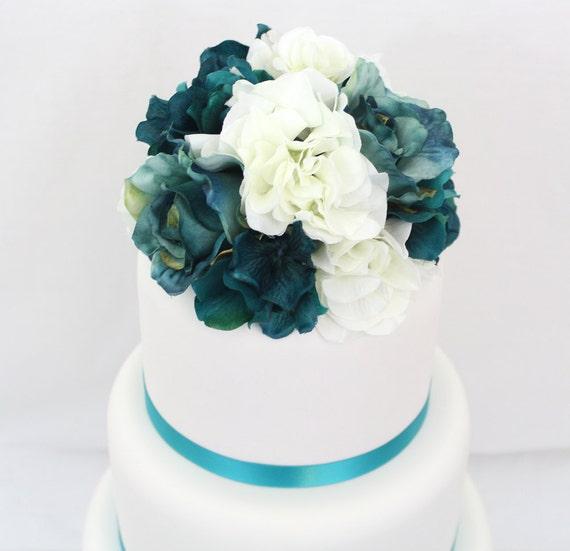 Silk Flower Wedding Cake Toppers: Wedding Cake Topper Turquoise White Hydrangea Jade Rose
