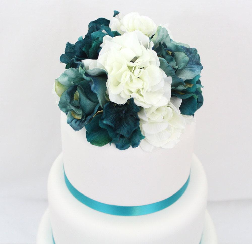 Wedding Cake Topper Turquoise White Hydrangea Jade Rose