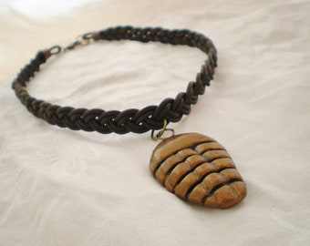 Trilobite Choker Braided Brown Leather Necklace bronze geekery fossil