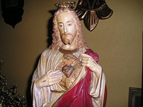 LG.Divine Jesus Christ Flaming Heart Chalkware Hand Painted Old Statue Convent  Religious Crown Icon