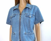 1970s Vintage Jacket Top Cropped Denim Zip Front Jacket / Large