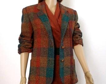 Vintage 1970s Jacket Blazer Plaid Wool Blend Liz Claiborne Jacket / Medium