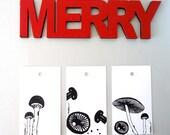 Holiday Mushrooms Tags. Modern Gift Tags. 6 Black and White Mushrooms. Holiday Gift Tags.