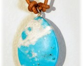 Turquoise colored Dyed Howlite necklace on blonde leather EARTH AMULET