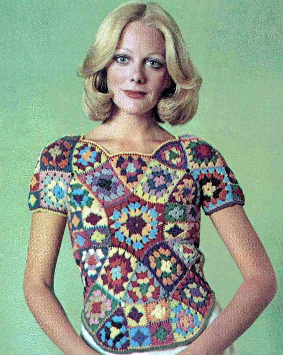 Vintage Crochet Pattern PDF 246 Stained Glass Granny Square Womens Top Vest Retro