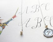 Monogram Pendant, Initial Personalized Bookmark, Custom Stamped Bookmark, Alphabet Wax Seal, White Pearl, Bridesmaid Gift Silver