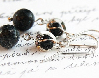 Summer Party Petite Black Earrings Bronzite Stone Earrings Sterling Silver Spiral Earrings Small Black Bead in Cage Earrings Modern Minimal