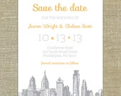 Philadelphia skyline charcoal grey save the date; SAMPLE ONLY