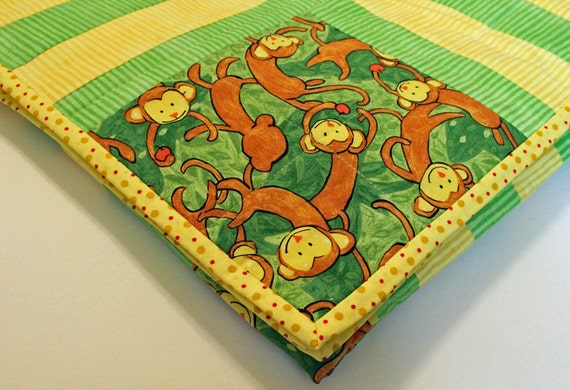 Handmade Monkey Baby Quilt-Boy or Girl-Canary Yellow,Jungle Green, Brown,