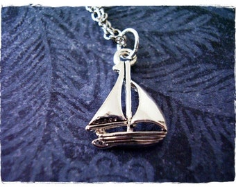 Silver Sailboat Necklace - Silver Pewter Sailboat Charm on a Delicate Silver Plated Cable Chain or Charm Only