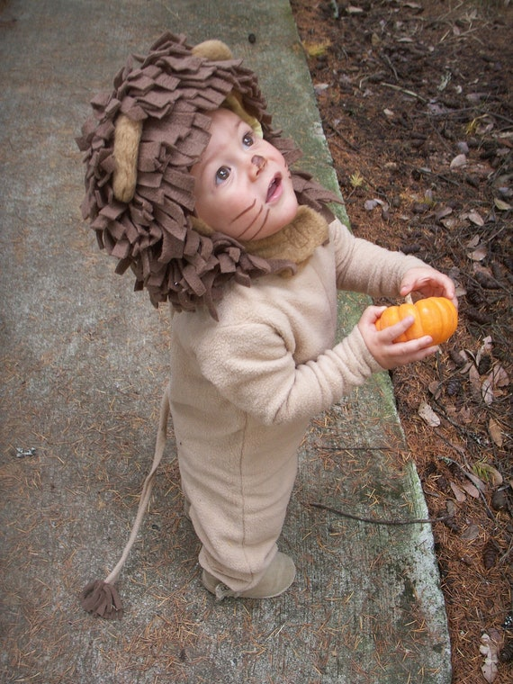 Lion Halloween Kids Costume for Boys or Girls, Toddler Costume, Childrens Costume, hood and suit Lion Costume