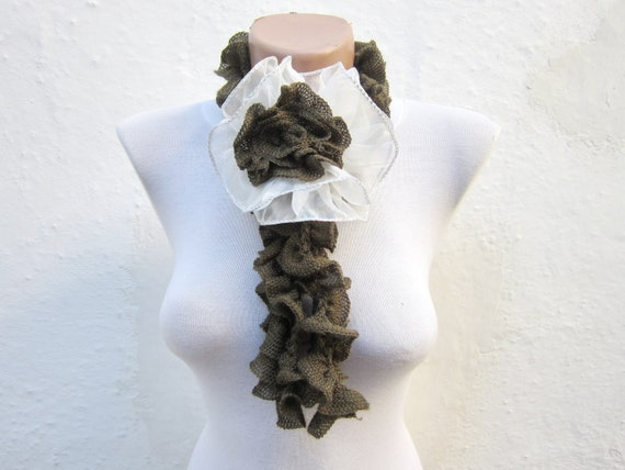 Ruffle Flower Brooch Pin,Ruffle Crochet Scarf,Frilly Scarf