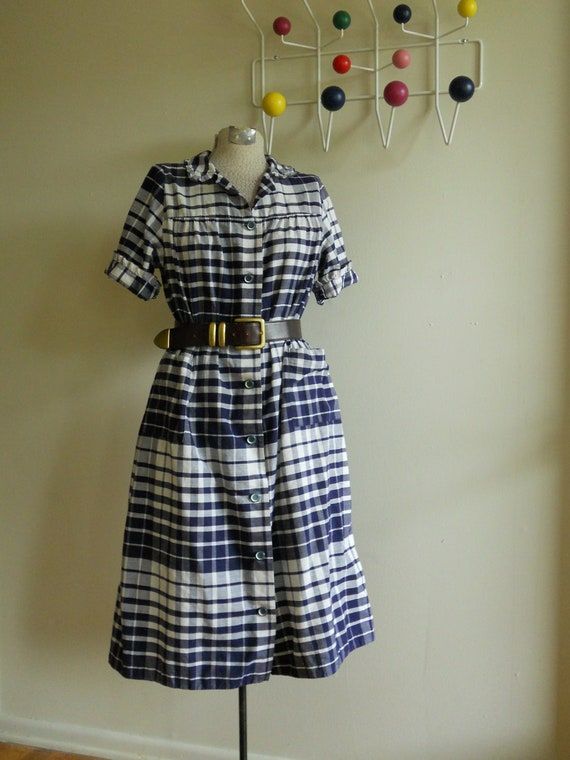 Vintage 1950s Plaid Day Dress