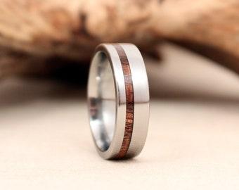 Titanium and Koa Wooden Ring Titanium Ring