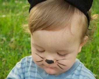 Wool Felt Black Cat ears & Tail