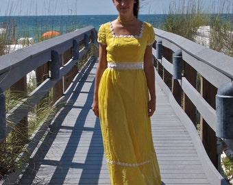 Vintage Yellow Maxi Dress Daisy Trim 60's Romantic Boardwalk Edwardian Style Square Neck