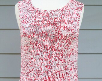 Red and white vintage sleeveless knit sweater top