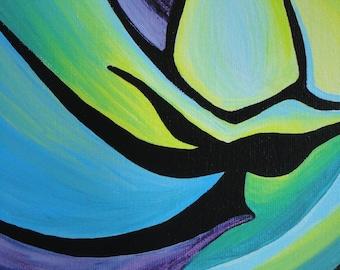 """8"""" x 10"""" Fine Art Giclee Print: IGUANA in BLUE and GREEN"""