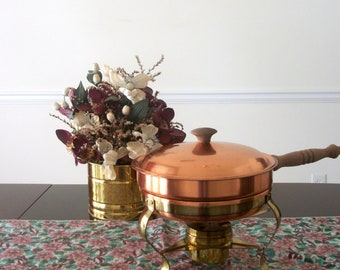 Vintage Copper and Brass Chafing Pot with Stand and Snuffer