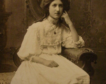 Real Photo Postcard Girl in White Lace  - Victorian Parlor