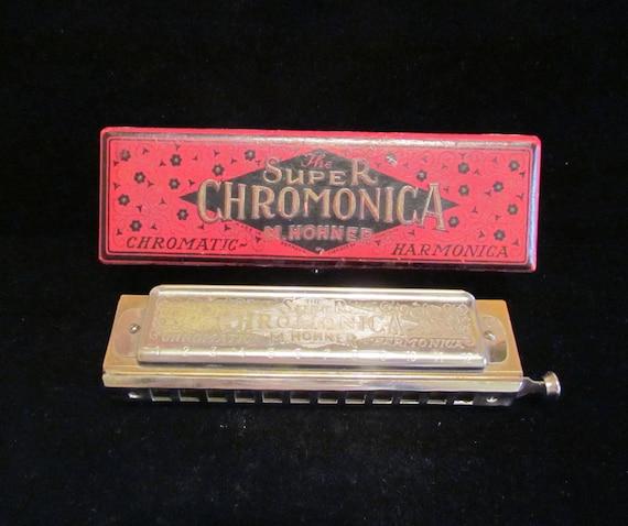Vintage 1930's Harmonica M. Hohner Harmonica Super Chromonica Harmonica  Key Of C Vintage Harp Original Box