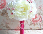 Ivory Peony Wedding Bouquet - Ivory and Cherry Blossom Fuchsia Wedding Bouquet