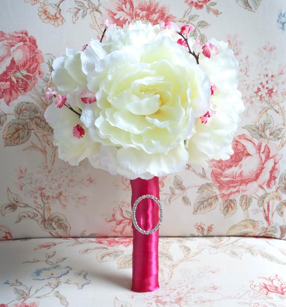 Ivory Peony Wedding Bouquet Ivory and Cherry Blossom Fuchsia