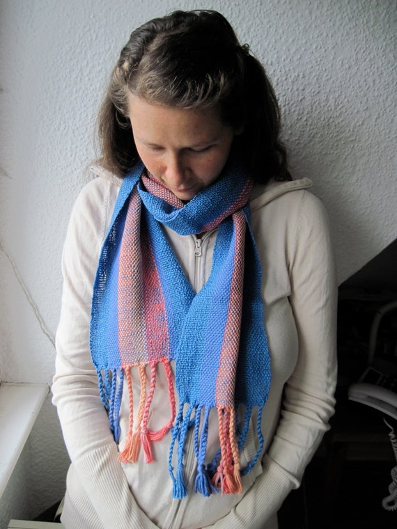 Coral Blue Scarf Handwoven in Cotton fibers