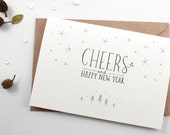 Holiday Card - Cheers, Happy New Year - Greeting Card