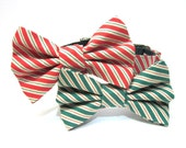 Holiday Dog Bowtie Collar- Red or Green Christmas Stripes