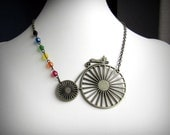 Bicycle Necklace, Rainbow Penny Farthing, Czech Glass Beads and Antiqued Brass