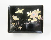 Japanese Black Lacquer Jewelry Box - Vintage Keepsake Box - Small Trinket Box - Hand Painted Flying Bird  - Hinged Small Wood Box - 1950s