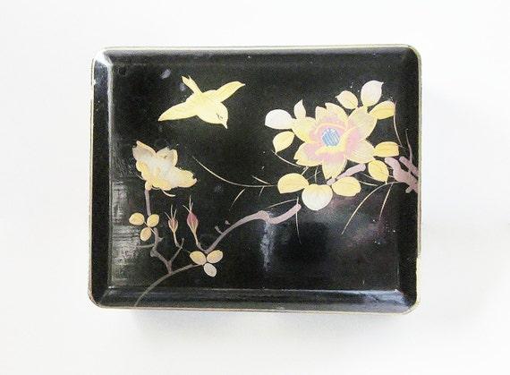 Japanese Black Lacquer Jewelry Box - Vintage Keepsake Box - Small Trinket Box - Hand Painted Flying Bird  - Hinged Small Wood Box - 1950s