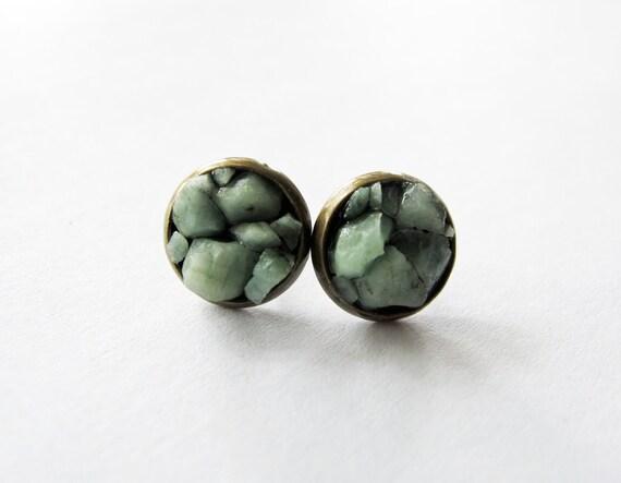 Raw Emerald Cluster Stud Earrings