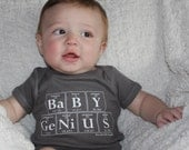 Periodic Table Creeper BABY GENIUS - The Original Baby Genius - Baby Gift For Scientists (Charcoal Gray)