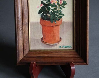 1980's Oil Painting of Flowers in Planter