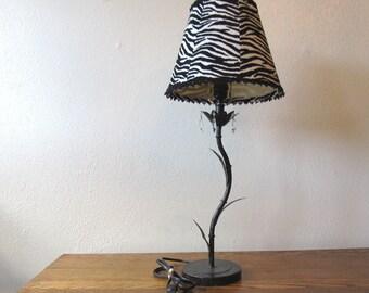 Vintage Lamp with Crystals & Custom Zebra Shade