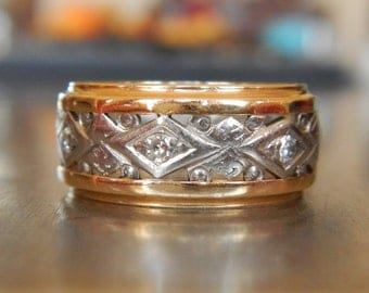 Platinum Diamond Wedding Band - Antique Wedding Band - Palladium Diamond Ring - Vintage Diamond Stacking Ring - Two Tone Gold Band -