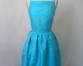 Bright Turquoise Silk Shantung Retro Dress