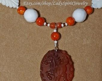 Carnelian Medallion Horse Necklace Set