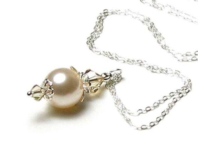 Cream Sachet Swarovski Pearl Silver Pendant Necklace, Golden Shadow Swarovski Crystals, Ivory Wedding Bridal Jewelry, Ecru Bridesmaid Gifts