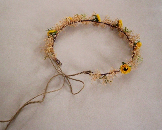 Sunflower twine Bridal flower crown Rustic Chic Dried Woodland Headwreath Natural babys breath party Hair Wreath Wedding Accessory costume
